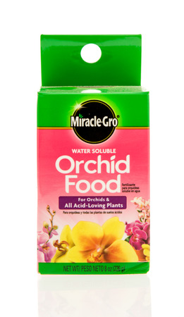 gro: Winneconne, WI - 28 April 2016: Box of Miracle Gro orchid food on an isolated background