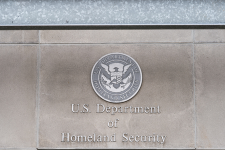 homeland: Milwaukee, WI - 8 March 2016:  U.S, Department of Homeland Security logo on a federal building