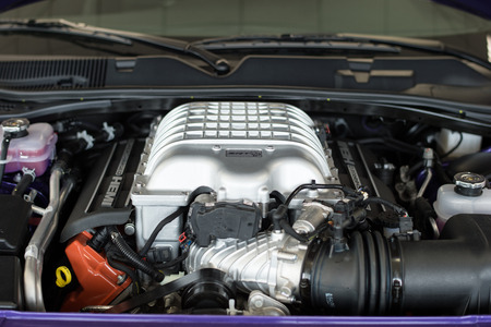 Waupun, WI - 8 March 2016:  An engine to the Dodge Challenger Hellcat that is supercharged and creates 707 horsepower. Editorial