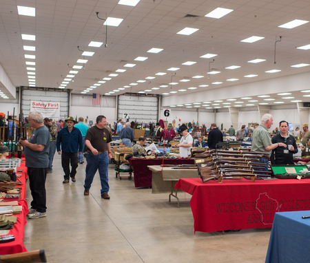 Winneconne, WI - 17 April 2016:  Image of a Gun show where people can buy and sell guns and other related items.