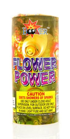flower power: Winneconne, WI - 8 June 2016:  Boomer flower power fireworks on an isolated background Editorial
