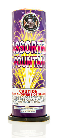 cutting edge: Winneconne, WI - 8 June 2016:  Cutting edge fireworks assorted fountain on an isolated background Editorial