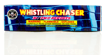 chaser: Winneconne, WI - 8 June 2016:  Cutting edge whistling chaser rocket fireworks on an isolated background