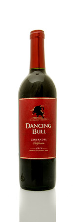 white zinfandel: Winneconne, WI - 8 June 2016:  Bottle of Dancing Bull wine on an isolated background