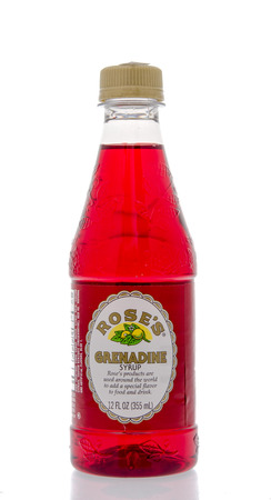 grenadine: Winneconne, WI - 16 March 2016:  Bottle of Roses grenadine syrup on an isolated background