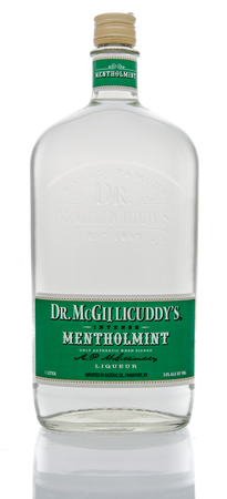 dr: Winneconne, WI - 16 March 2016:  Bottle of Dr. McGillicuddys mentholmint liqueur on an isolated background
