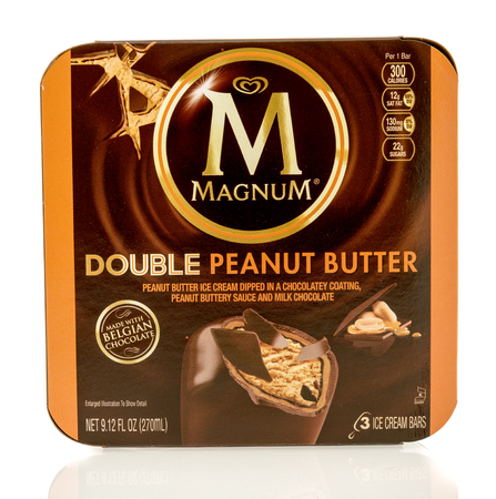 magnum: Winneconne, WI - 1 July 2016: Box of Magnum double peanut butter bars on an isolated background Editorial