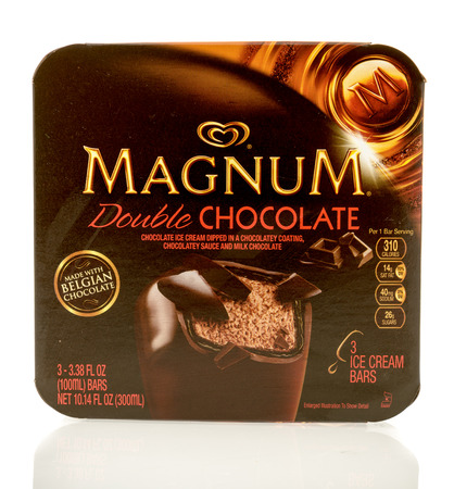 magnum: Winneconne, WI - 1 July 2016: Box of Magnum double chocolate bars on an isolated background