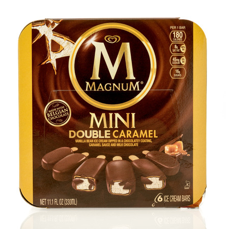 magnum: Winneconne, WI - 1 July 2016: Box of Magnum mini double caramel bars on an isolated background