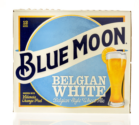 blake and white: Winneconnie, WI - 7 July 2016:  Blue Moon 12 pack of beer on an isolated background.