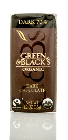 blacks: Winneconnie, WI - 15 July 2016: Green & Blacks organic dark chocolate  on an isolated background. Editorial
