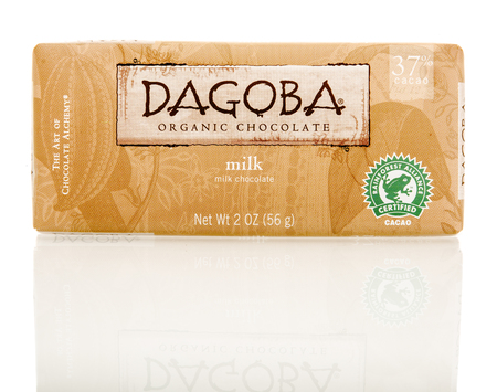 dagoba: Winneconnie, WI - 15 July 2016: Dagoba organic milk chocolate on an isolated background.