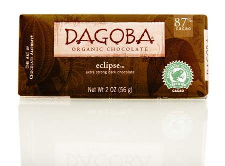 dagoba: Winneconnie, WI - 15 July 2016: Dagoba organic eclipse dark chocolate on an isolated background. Editorial