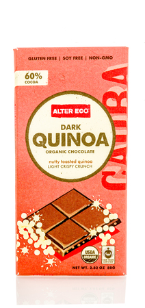 Winneconnie, WI - 15 July 2016: Quinao dark chocolate on an isolated background. Editorial