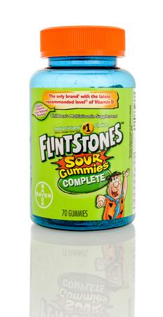 multivitamin: Winneconnie, WI - 15 July 2016:  Flintstones sour gummies multivitamin on an isolated background. Editorial