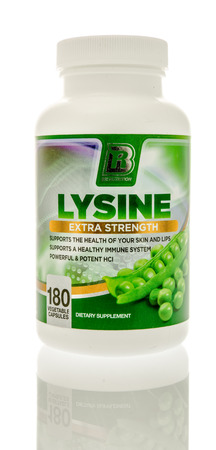 lysine: Winneconnie, WI - 15 July 2016:  Bri nutrition lysine on an isolated background.