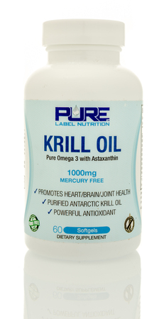 the name of the drug: Winneconnie, WI - 15 July 2016:  Pure label nutrition krill oil on an isolated background.