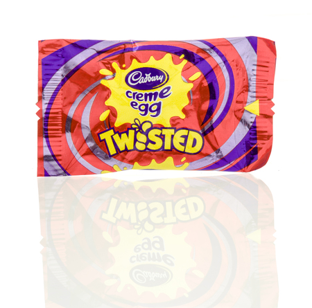 Winneconne, WI - 23 July 2016:  Cadbury creme egg twisted candy bar on an isolated background.
