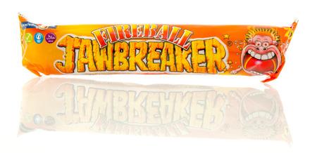 Winneconne, WI - 23 July 2016:  Fireball jawbreaker candy on an isolated background.
