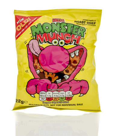 munch: Winneconne, WI - 23 July 2016:  Bag of Mega Monster Munch pickled roast beef chips on an isolated background.