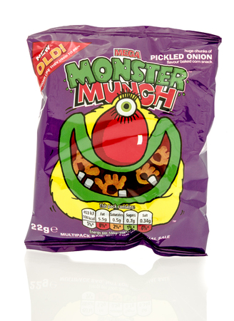 munch: Winneconne, WI - 23 July 2016:  Bag of Mega Monster Munch pickled onion chips on an isolated background.