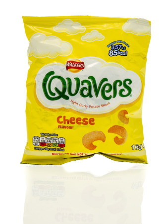 quavers: Winneconne, WI - 23 July 2016:  Bag of Walkers Quaves cheese chips on an isolated background. Editorial