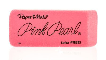 mate: Winneconne, WI - 12 August 2016: Paper mate pink pearl eraser on an isolated background.