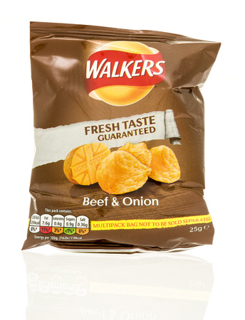 snack food: Winneconne, WI - 12 August 2016: Bag of Walkers chips in beef & onion flavor on an isolated background. Editorial