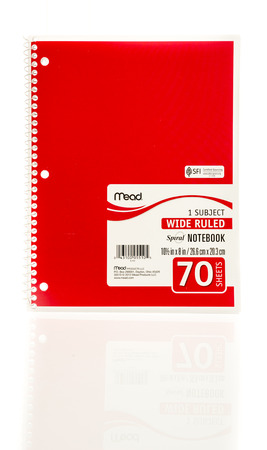 mead: Winneconne, WI - 20 August 2016:  Mead spiral red notebook on an isolated background. Editorial