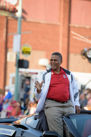 nfl: Canton, OH - 6 August 2016:  NFL Hall of Fame player Ken Houston in a parade.
