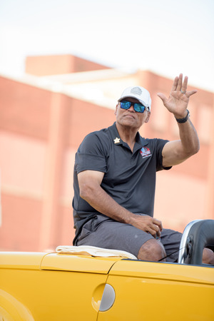 nfl: Canton, OH - 6 August 2016:  NFL Hall of Fame player Anthony Munoz in a parade.