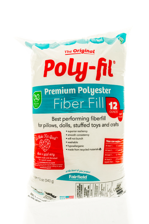Winneconne, WI - 3 September 2016:  Bag of the original poly-fil polyester fiber fill on an isolated background.