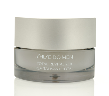 dullness: Winneconne, WI - 4 August 2016: Shiseido men total revitalizer face cream on an isolated background.