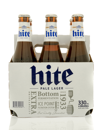 6 pack beer: Winneconne, WI - 30 August 2016:  Six pack of Hite beer from South Korea on an isolated background. Editorial
