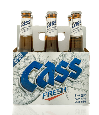 6 pack beer: Winneconne, WI - 30 August 2016:  Six pack of Cass beer from South Korea on an isolated background.
