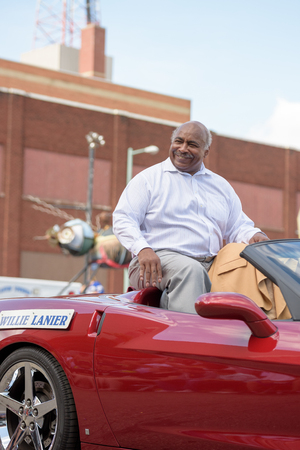 nfl: Canton, OH - 6 August 2016:  NFL Hall of Fame player Willie Lanier  in a parade.