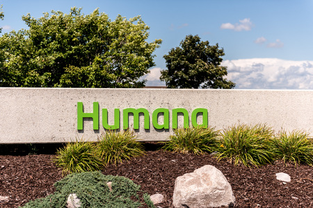 Depere, WI - 14 August 2016:  Sign of Humana health insurance company  which is based in Louisville, Kentucky. Editorial