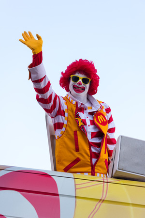 mcdonald: Canton, OH - 6 August 2016:  Ronald McDonald in a parade Editorial