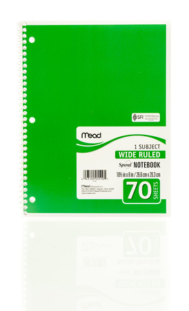 college ruled: Winneconne, WI - 20 August 2016:  Mead spiral green notebook on an isolated background.