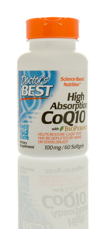 food absorption: Winneconne, WI - 28 September 2016:  Bottle of Doctors Best high absorption CoQ10 on an isolated background. Editorial