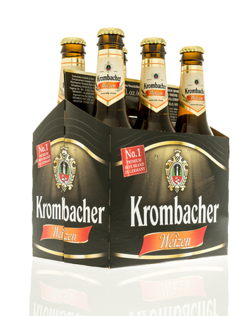 Winneconne, WI - 3 November 2016:  Six pack of Krombacher beer on an isolated background.