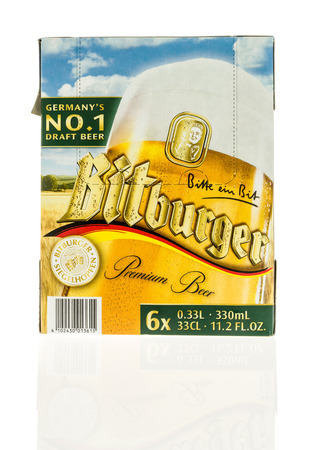 6 pack beer: Winneconne, WI - 3 November 2016:  Six pack of Bitburger beer on an isolated background.