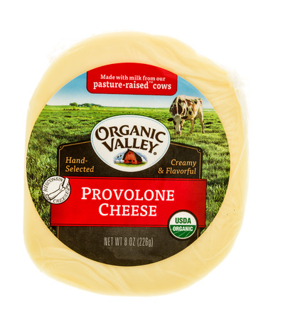 Winneconne, WI - 2 November 2016:  Package of Organic Valley Provolone cheese on an isolated background.