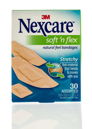 Winneconne, WI - 2 November 2016:  Box of 3M Nexcare bandages on an isolated background. Editorial