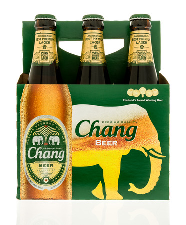 6 pack beer: Winneconne, WI - 3 November 2016:  Six pack of Chang beer on an isolated background. Editorial