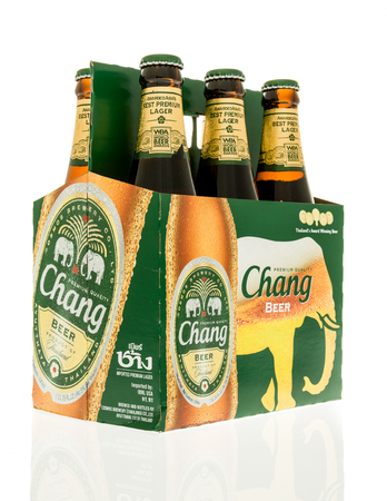 Winneconne, WI - 3 November 2016:  Six pack of Chang beer on an isolated background. Editorial