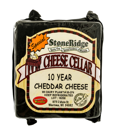 Winneconne, WI - 2 November 2016:  Package of Stoneridge cheddar cheese on an isolated background. Editorial