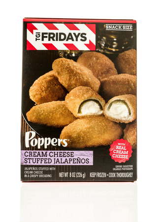 poppers: Winneconne, WI - 2 November 2016:  Box of TGI Fridays poppers on an isolated background.