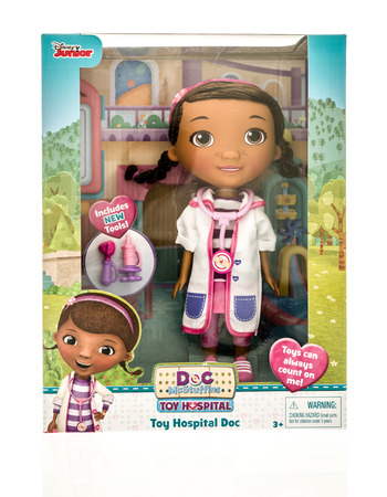 Winneconne, WI - 13 November 2016: Package of Disney Junior Doc Mcstuffins on an isolated background. Editorial