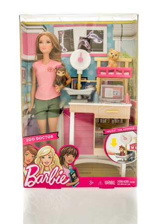 barbie: Winneconne, WI - 13 November 2016: Package that contains Barbie zoo doctor on an isolated background.
